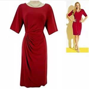 Size 12▪️RED FAUX-WRAP DRESS Christmas Holiday